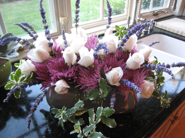 Spider mums, white roses, varigated mint and lavender