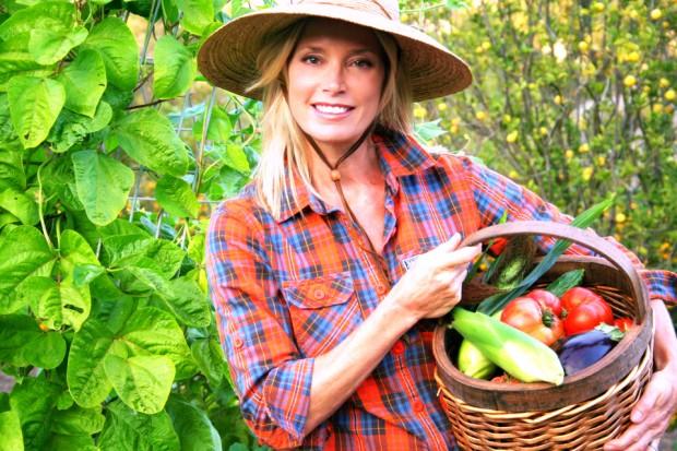 Kelly Emberg in her garden
