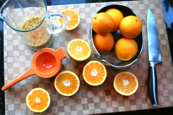 passion fruit and oranges